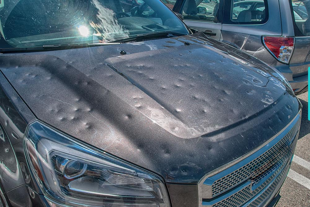 Hail Damaged Truck • view of hood